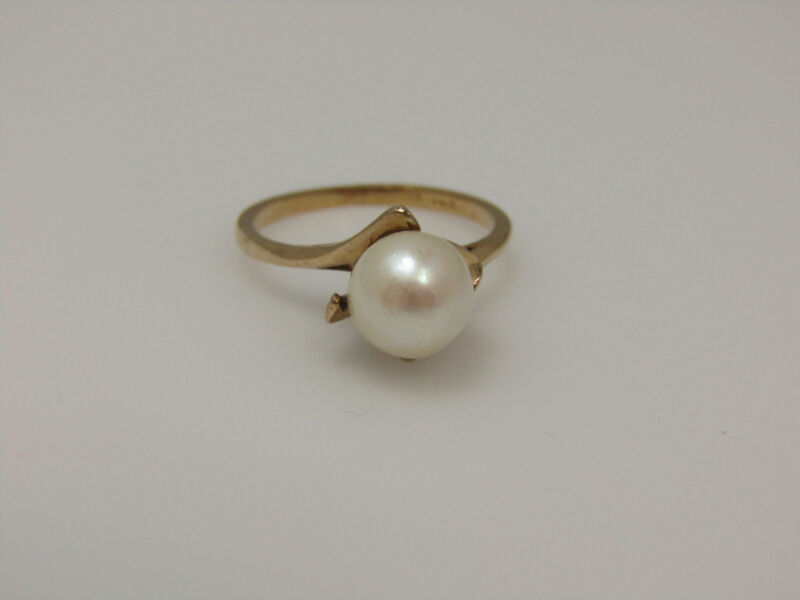 Unmarked Tests 10k Yellow Gold Jewelry Pearl Center Ring Center Loop Twist