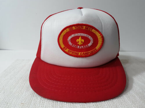 Vintage 1987 Mesh Trucker Cap/Hat BSA Boy Scouts Five Flags Spring Camporee