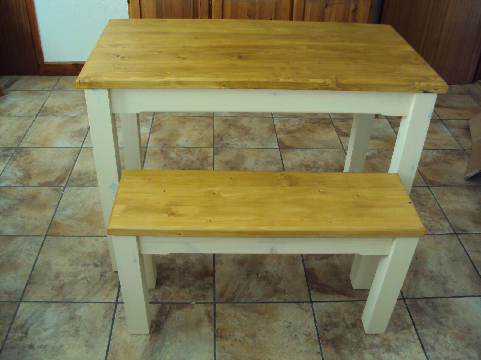 Wooden Bench For Kitchen Table ~ Wooden farmhouse kitchen dining table and bench set