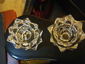 Pair-of-Mikasa-Clear-Glass-Sparkling-Star-Shaped-Taper-Tealight-Candle-Holders