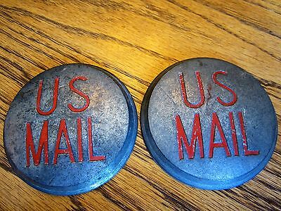 Pair Us Mail Cast Metal Round Medallions Vintage Post Office Usps Cart Hubcaps