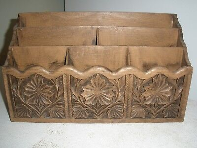Vintage Desk Slotted Organizer With Flowers By Lerner 12 X 7 X 4 Unbreakable