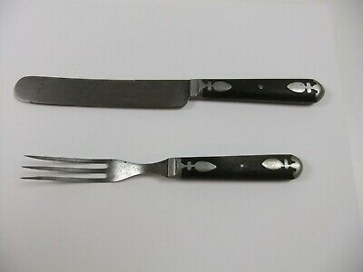 Antique John Primble Knife and Fork Pewter Inlay Handles