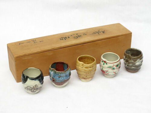 Set of 5 Japanese Stoneware Guinomi Sake Cup Tachikichi Ceramic Mashiko Oribe