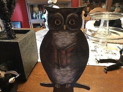 """VTG Kathy Seburn for Bethany Lowe 12"""" Standing OWL Holding Book- Halloween"""
