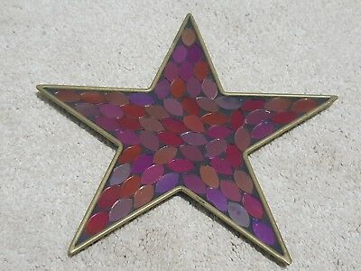 STUNNING PINK RED PURPLE GOLD MOSAIC GLASS STAR SHAPED PILLAR CANDLE STAND - Purple Glass Candle Plate