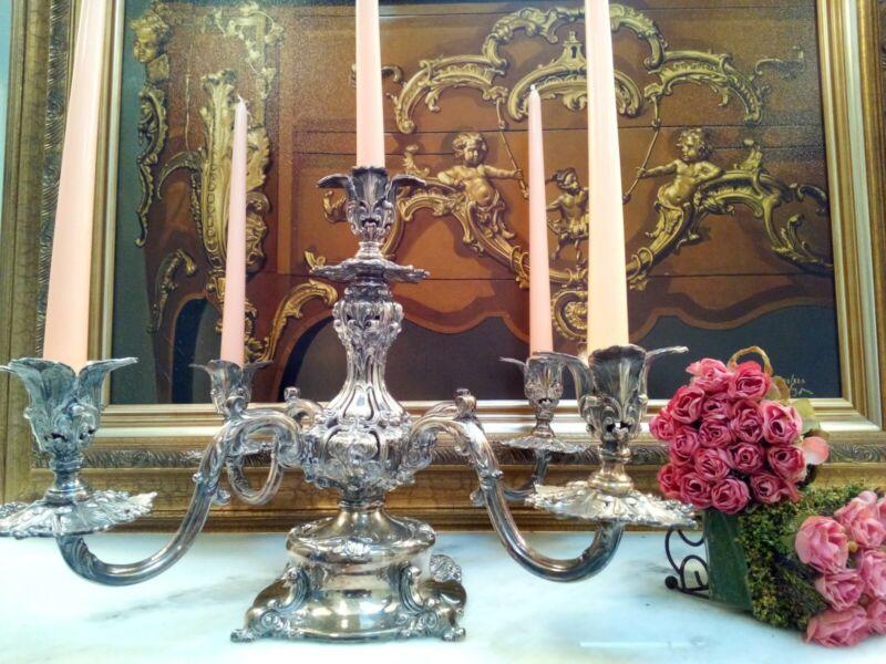 Stunning Reed & Barton Epergne Silverplate 5-Arm Ornate Candelabra Candleholder