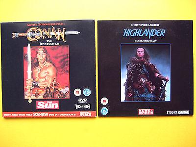 CONAN THE DESTROYER/HIGHLANDER DVD'S THE SUN/NOTW NEWSPAPER PROMOTION  (2 DVD'S)