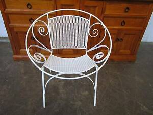 C43041 Single Vintage RETRO White Mesh Metal SAUCER CHAIR Unley Unley Area Preview