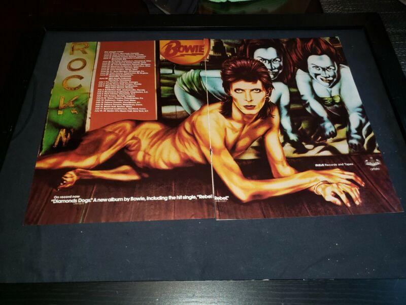 David Bowie Diamond Dogs Rare Original Promo Poster Ad Framed! #2 With Error!
