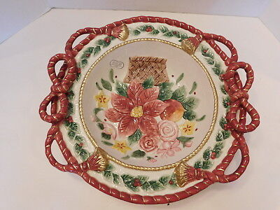 Fitz and Floyd Father Christmas Poinsettia Round Centerpiece Serving Bowl ()