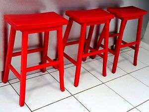 3 RED WOODEN CURVED BAR KITCHEN BENCH STOOLS SEATS ENTERTAINING Cleveland Redland Area Preview