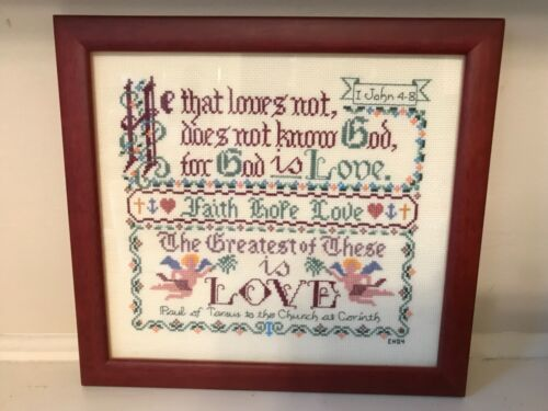 Bible verse John 4-8  Finished cross-stitch picture Cross Stitch framed mint