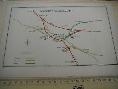 WOLVERHAMPTON WEDNESFIELD OXLEY FOUR ASHES BUSHBURY RAILWAY MAP 1903