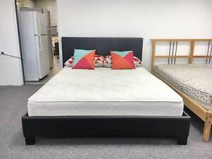DELIVERY TODAY BLACK Queen LEATHER bed frame (mattress available) Belmont Belmont Area Preview