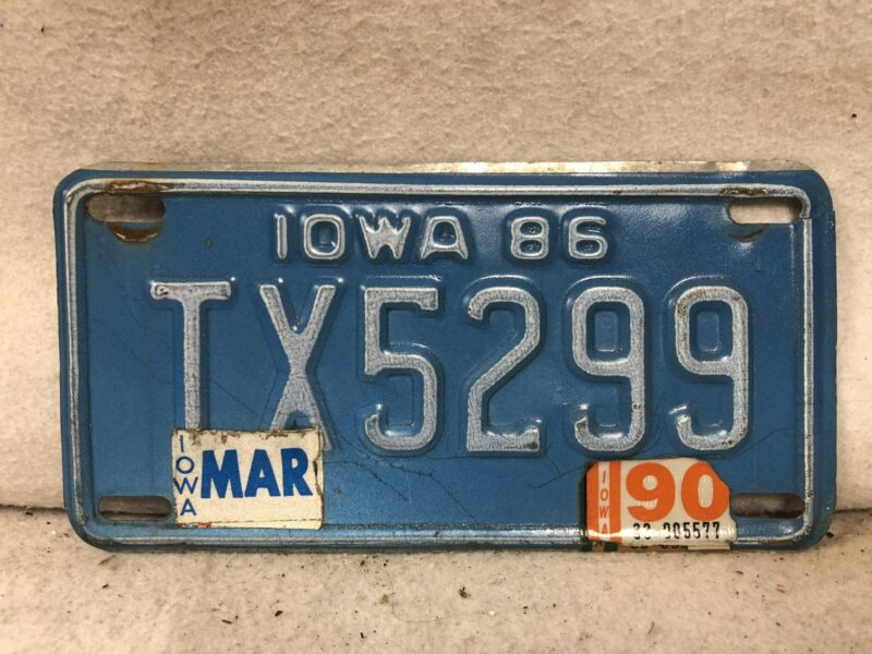 1986 Iowa Motorcycle License Plate