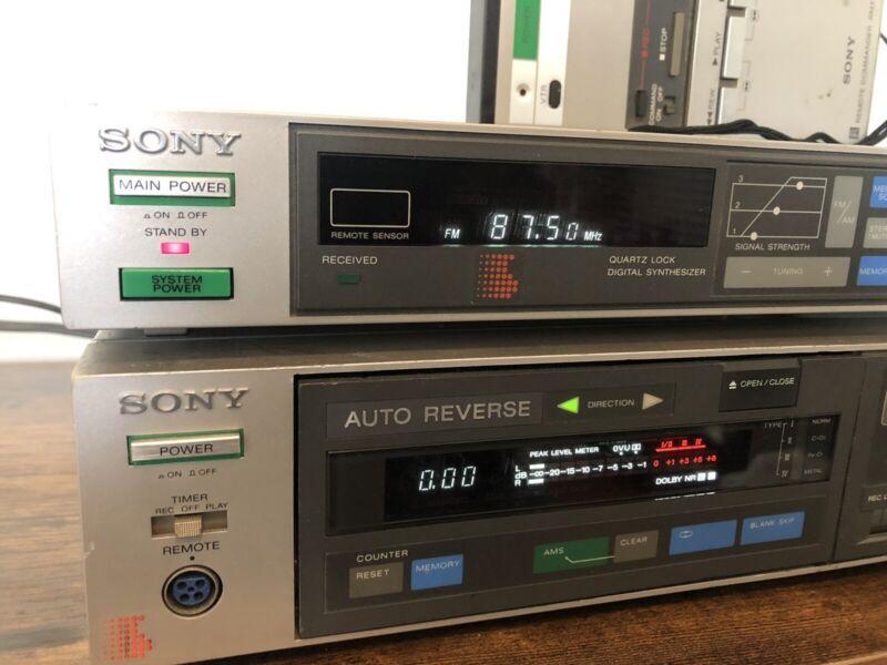 Vtg Sony ST-V7 FM/AM Receiver Tuner, TC-V7 cassette deck w Remote Bundle!!!