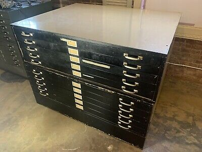41 X 53 Flat Files - Flatfile Double Unit 10 Total Drawers Art Map Storage Metal