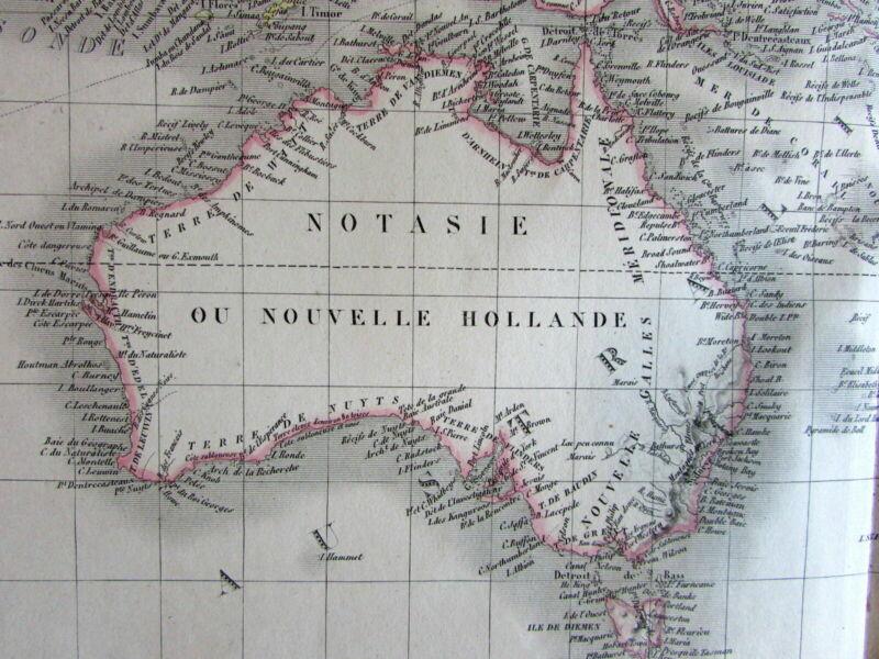 Australia New Holland Notasie Oceania scarce c.1830 Lapie large map Tooley, 836