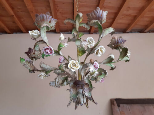FRENCH shabby CHANDELIER  PINK CREAM ROSES TOLE 6 LIGHTS arms . MID LAST CENTURY