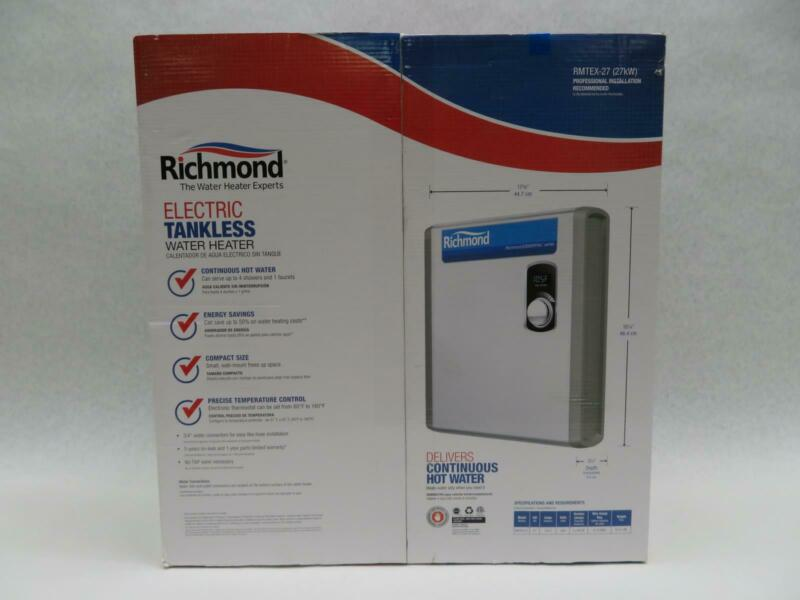"""Richmond RMTEX-27 Essential Tankless Electric Water Heater, 3/4"""" NPT, 6.6 GPM"""