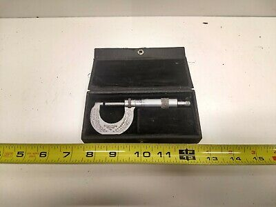 Vintage Brown Sharpe 0-1 Micrometer .001 Grad W Case No. 100