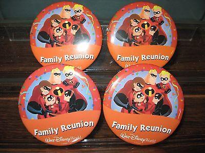 Disney 4 Button Set WDW Family Reunion The Incredibles Pins Pin-Back Theme Park - Family Reunion Themes