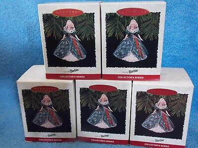 Lot Of 5 New 1995 Holiday  Barbie Doll Ornaments