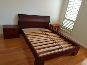 Queen Bed & Bedside cabinet - Solid Timber with slats