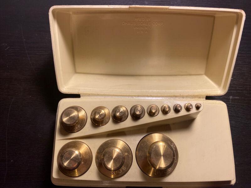 OHAUS Sto-A-Weigh Brass Calibration 12 P Weight Set 1.220 KGs