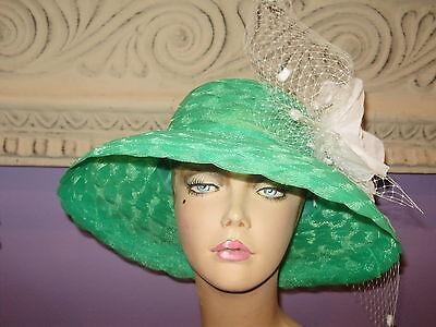 Derby Hat WHITE GREEN Church Wide Brim Hats 22 1/2