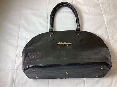 Salvatore Ferragamo Black Leather Vintage Handbag Purse