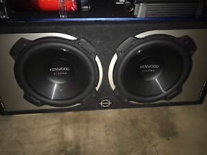"""2 10"""" Kenwood 2600w pair with amp and box"""