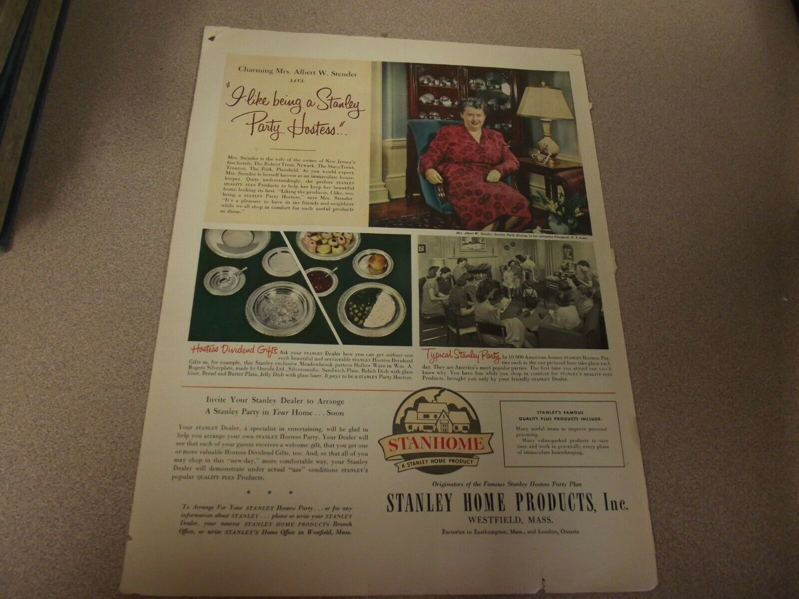 print AD Give a STANLEY HOSTESS PARTY  Stanley Home Products
