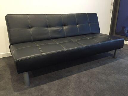 Black 3 seater futon  Waterloo Inner Sydney Preview