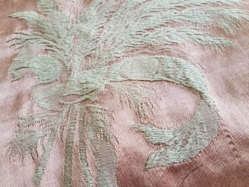 """Vintage Fabric Pink Ivory Brocade Floral Tied W/ Ribbon 1 2/3 yard (48"""" x60"""")"""
