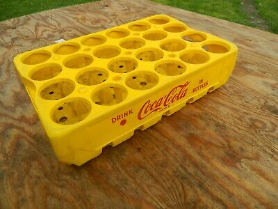 Vintage Yellow Plastic COCA COLA in Bottle Crate Case Box Carrier Caddy 24 Slots