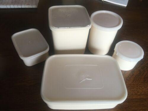 Lot of 5 Vintage Freezette Plastic Food Storage Containers by Republic Molding