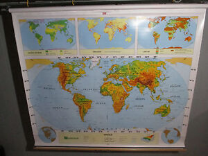 HUGE  World U.S & World Nystrom Pull Down Wall Map  2 MAPS! NEW IN THE BOX!