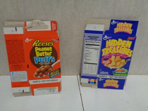 2 vintage cereal boxes sample snack packs HIDDEN TREASURES reese