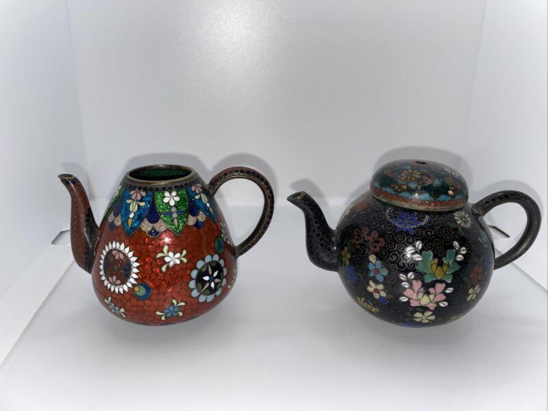 Small Cloisonné Asian Tea Pots Read Description