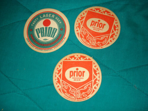 3 Prior Beer Brewery Coasters - Original & Vintage Breweriana!!