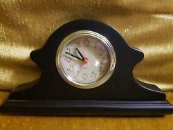 Vintage Small Wood Quartz Desk Mantel Clock with Alarm