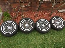 Dayton 100 spoke wheels and white wall tyres cheap Bexley Rockdale Area Preview