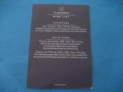 BRITISH AIRWAYS CLUB WORLD  WINE LIST   SEPT 1997