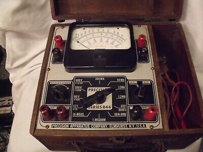 Vintage 1940s Precision Apparatus Series 844 With Wooden Case Not Tested
