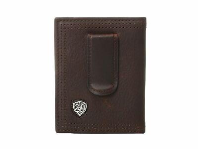 Ariat Leather Front Pocket Bifold Money Clip Mens Wallet/Dk