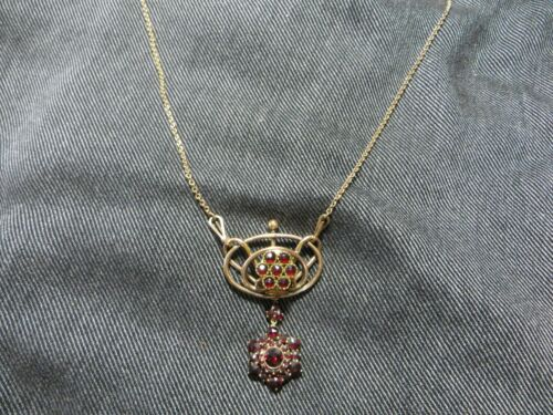 """Antique Victorian Gold Filled Bohemian Rose Cut Dangle Charm Chain Necklace 17"""""""