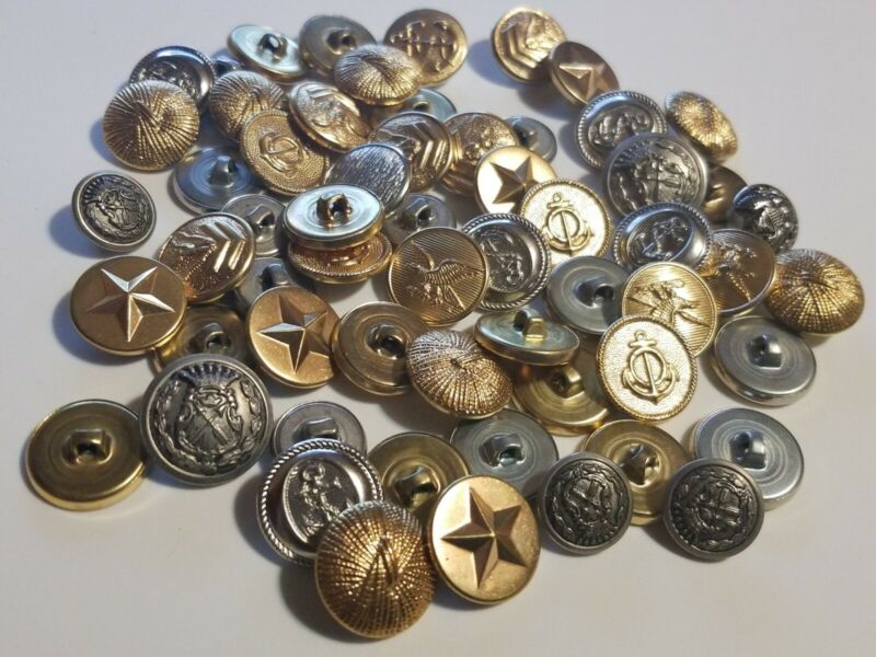 70 Vtg WWII War Era US & Canada MILITARY BRASS & Mother Pearl Abalone BUTTONS