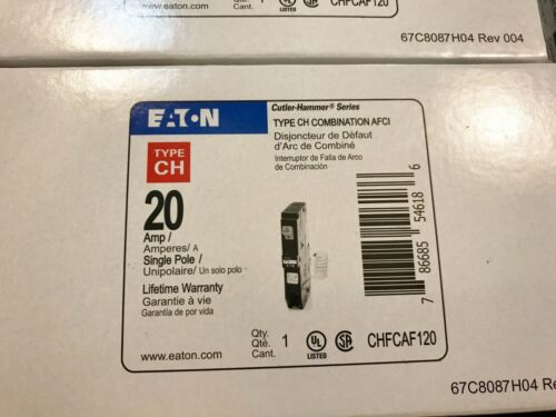 ONE 1 NEW EATON CUTLER HAMMER CHFCAF120 20A 1P AFCI CIRCUIT BREAKER BEST PRICE